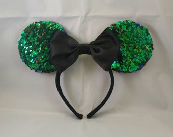 Green/Black Color Changing Sequin Mickey Mouse Ears
