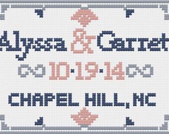 PDF Custom Wedding Couple and Date Cross Stitch Downloadable Digital Pattern