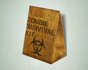 Zombie Party Survival Kit Favor Box / Goodie Bag / Loot Bag