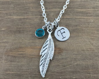 Personalized Feather Necklace - Hand stamped Monogram Feather Necklace - Initial, Birthstone Necklace - Boho Jewelry