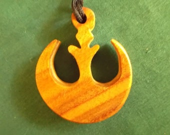 Star Wars Jewelery, Rebel Alliance Pendant, Handmade two toned Wood Necklace, Cosplay Pendant