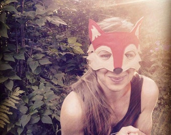 Handmade felt fox mask and tail set, adult