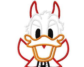Character Devil Duck Embroidery Applique Design