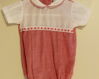 vintage baby girl red gingham romper sze 3-6 months