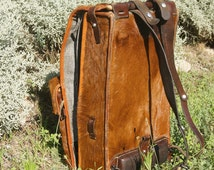 Vintage 1940's  Swiss Army backpack, military rucksack, suitcase, fur and distressed leather bag