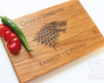 Game of Thrones Cutting Board, Dinner is coming Cutting Board, GOT Chopping Board, Games of Thrones house Stark Engraved, Ready to ship