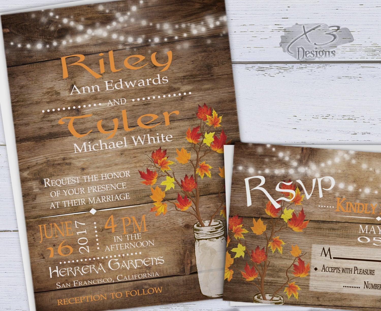Rustic Fall Wedding Invitation Mason Jar Wedding Invitation