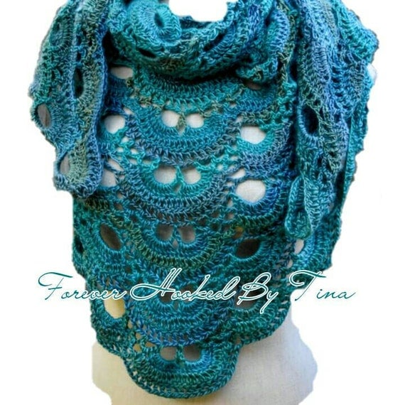 Crochet Pattern Virus Shawl : Crochet Virus Shawl in Tidal, Triangle Shawl, Shoulder Wrap, Shades of ...