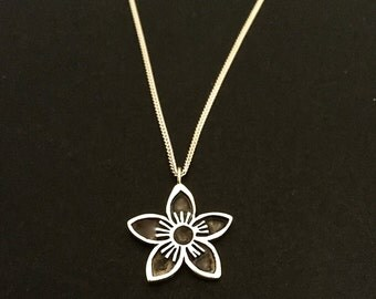 Flower Pendant- sterling silver with chain