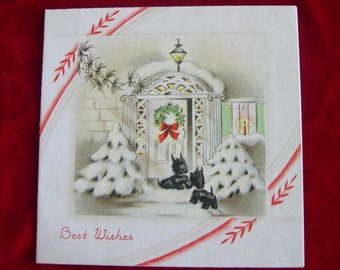 1938 Scottish Terrier Scotty Dog in Doorway Christmas Greeting Card
