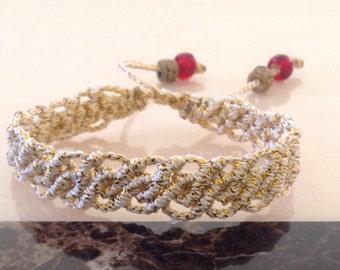 Macrame bracelet, gold color bracelet, gift for her, gold and red bracelet, handmade bracelet, beaded bracelet, bracelet