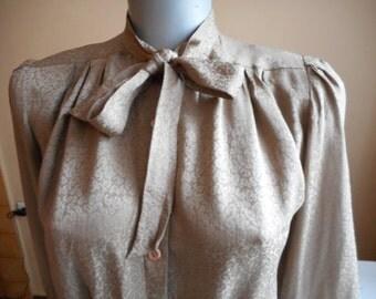 Silk Blouse by LEVANTE, Beige Blouse, Vintage Silk Tie Neck Blouse, Size 4