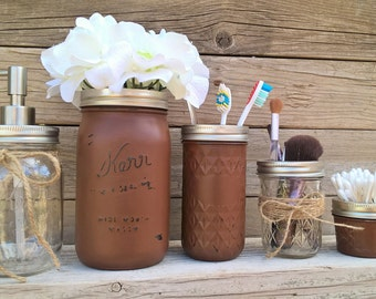 Bathroom Accessories Set Mason Jar Bathroom Set Painted Mason Jars Rustic  Bathroom Set