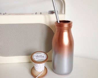 Metallic copper and silver ombre mini milk bottle