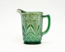 Vintage Carnival Glass Poinsettia Milk Pitcher Helios Green,  Imperial Glass Water Pitcher with ice lip,  Collectors Condition