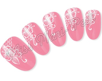 Nail Art Water Slide Decals Transfers Stickers White Henna Mehndi Flower Lace S002