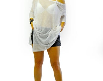 White cotton summer blouse/Woman loose blouse/Soft cotton tunic/Loose tunic/White top/Handmade tunic/Summer top tunic/Loose top/T1377