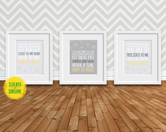 Baby of Mine (Dumbo Song)-Gray and Yellow Nursery-8x10 Digital Prints-3 Pack - Baby Mine - Baby Room Decor