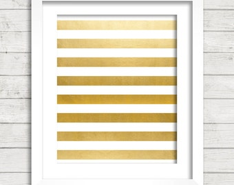 Gold and White Stripes Gold Foil Art Digital Printable Wall Decor- Instant Download