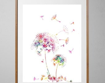 Dandelions Watercolor Print, Wall Art, wall decor, Wedding Gift, Giclee Print, Dandelion art love dandelions Illustration [NO27]