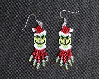 Grinch Beaded Earrings