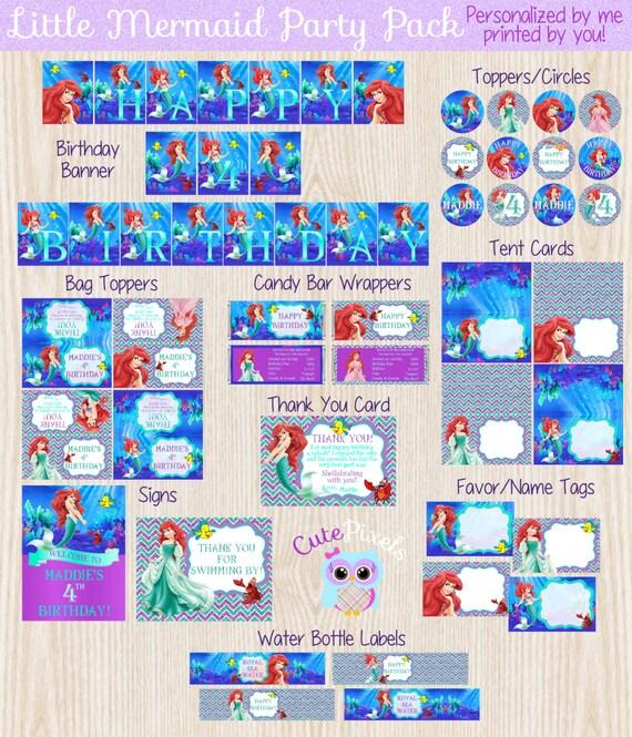 Wedding Favor Ideas Little Mermaid: Little Mermaid Favor Tags Ariel Name Tags Disney By CutePixels