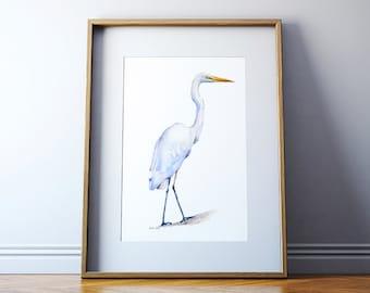 Egret Art Print - Watercolor Painting - Bird Painting