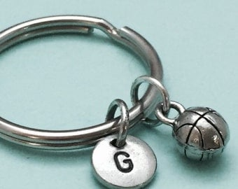 Basketball keychain, basketball charm, sports keychain, personalized keychain, initial keychain, initial charm, customized, monogram