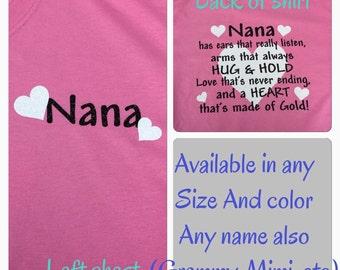 Nana shirt glitter grammie shirt granny shirt grandma shirt grammy shirt any name you want for grandmother