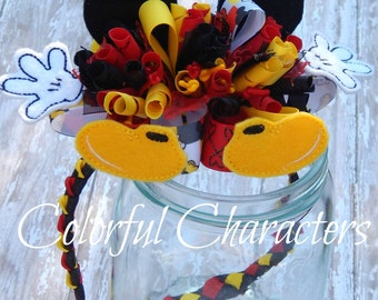 Over the top Mickey Parts woven head band, funky loopy bow, red yellow and black, ready to ship