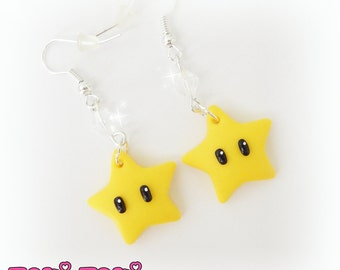 Super Mario Invincibility Star Earrings, Polymer Clay Nintendo, Gamer Geeky Jewelry, Gamer Jewelry, Clay Earrings, Cute Earring, Super Mario