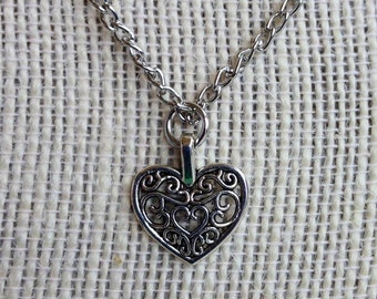 Filigree Heart Pendant & Earrings  Jewelry Set