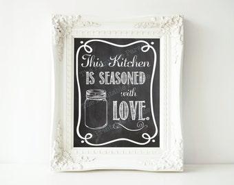 "Mason Jar Chalkboard Kitchen Seasoned with Love Printable 8x10"""