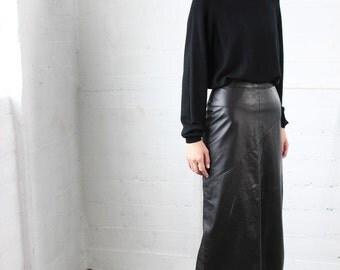 Vintage Original 80's Leather Long Maxi Skirt