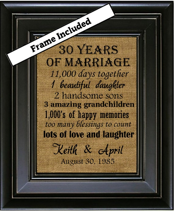 30th Wedding Anniversary Burlap Print 30th Anniversary Gifts 30th ...