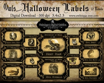 Owl Theme Halloween Labels, Digital Download, Halloween tags, Vintage Apothecary Labels, Halloween bottle Decorations, Owl Halloween Tags