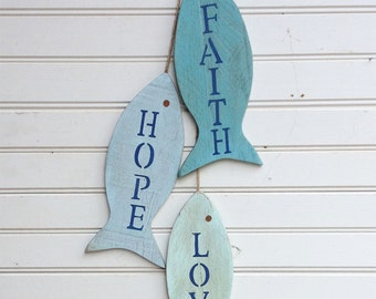 Wooden Fish Wall Decor painted string of wooden fish wall decor made with repurposed