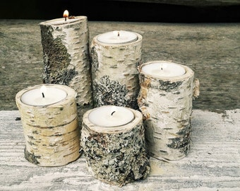 5 Branch Candle Holders -  Candle Holders, Tree Slice, Wooden Candle Holders,