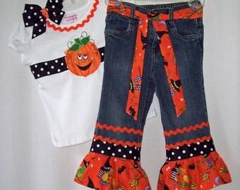 Custom boutique Halloween Pumpkin Fall jeans & ribbon shirt set sizes 12 mo. to size 8