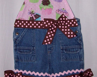 Custom boutique little girls Birthday Cupcake capri length overalls size 24 mo. PRICE REDUCED!!