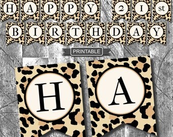 Leopard Print, Cheetah Print, Birthday Party Decoration Banner Digital Printable PDFs Instant Download With Milestone Numbers-HAPPY BIRTHDAY