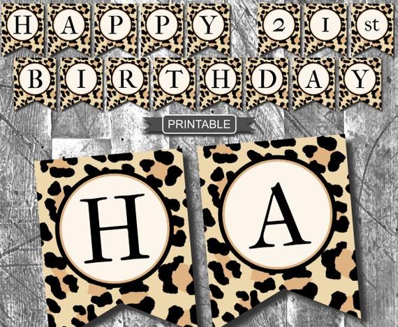 leopard print cheetah print birthday party decoration banner