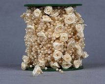 Pearl Garland with Rose ), Wedding Centerpiece, Bride's Bouquet, Party Decoration, Craft
