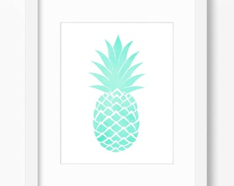 Aqua pineapple printable, mint decor, botanical print watercolor print, fruit print, turquoise print, tropical print, pineapple print, 18x24