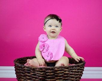 Pink Flowers Baby Bib // Pink Baby Girl Bib // Gift for Baby Girl