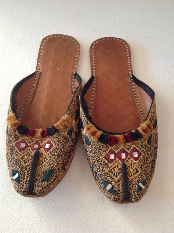 Old Middle Eastern Embroidered Slippers