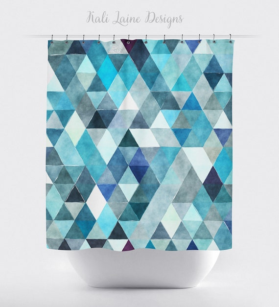 Shower Curtain Blue Geometric Watercolor By Kalilainedesigns