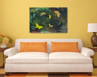 Original Butterfly Painting in Green and Yellow Acrylic 36x24 Canvas