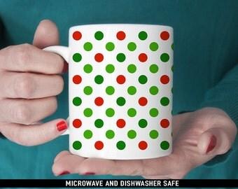 Coffee Mug Christmas Red and Green Polka Dot Coffee Cup