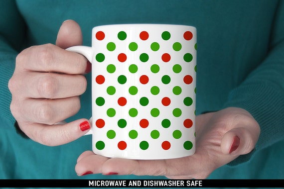 Coffee Mug Christmas Red and Green Polka Dot Coffee Cup